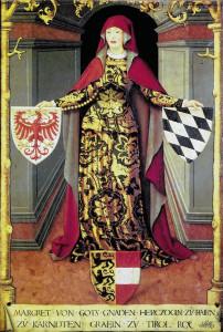 """Margarethe von Tirol, """"Schutzpatronin der Frauenemanzipation"""" (* 1318 in Tirol; † 3. Oktober 1369 in Wien), war die Tochter von Heinrich Herzog von Kärnten und Graf von Tirol und Görz, aus dessen Ehe mit Adelheid von Braunschweig. Gegen alle Konvention der damaligen Zeit hatte sich die 23jährige vom böhmischen Königssohn Johann Heinrich befreit, den man ihr 12jährig als Ehegatten aufgezwungen hatte. Entgegen dem päpstlichen Verbot akzeptierte sie die Annullierung ihrer Ehe mit Johann Heinrich von Böhmen durch Kaiser Ludwig und die Wiederverheiratung durch diesen als """"oberstem Standesbeamten"""" des Deutschen Reiches. Die päpstlichen Bannflüche aus Avignon konnten ihre Herrschaft in Tirol nicht ins Wanken bringen. Erst nach 17 Jahren gab der päpstliche Stuhl dem Druck ihrer Fürsprecher aus dem Hause Habsburg nach und der Papst legitimierte und Margarethes Ehe mit Ludwig von Brandenburg, dem Sohn von Kaiser Ludwig. Unter einem wurde ihr gemeinsamer Sohn Meinhard III. legitimiert, sodass dieser die Habsburgertochter Margarethe von Österreich heiraten konnte. Margarethe von Tirol setzte im dunklen Spätmittelalter erfolgreich ein Beispiel des Frauenerbrechts sowie des Rechts auf staatliche Ehescheidung. Die Männerwelt """"dankte"""" es ihr mit übler Nachrede betreffend ihres Aussehens und der Unterstellung, dass sie ihren zweiten Gatten Ludwig von Brandenburg und ihren Sohn Meinhard III. Graf von Tirol und Herzog von Bayern, durch Giftanschläge beseitigt hätte."""