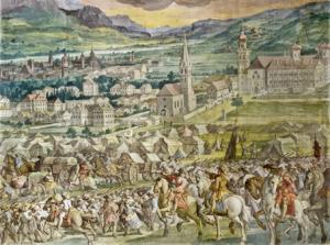 Heerlager des bayrischen Kurfürsten Max Emanuel in Wilten, Sommer 1703, im Hintergrund Stift Wilten und die Basilika Wilten (noch in ihrer Form vor dem Neubau in den Jahren 1751 bis 1756). Fresko in der Stiftskirche Wilten.